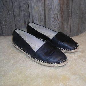 Aldo black flats loafer espadrille leather jute 10